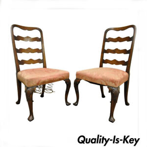 Pair of 18th C Hand Carved Walnut George II Ladder Back Dining Side Chairs