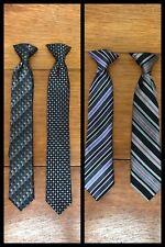 4 Neckties Tie Clip On Boys Kids Stripe Gray Blue Dressy Suit Docker Polyester