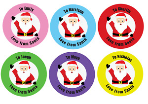 Personalised Christmas Gift Stickers From Santa Xmas Kids Present Labels x 24 S1