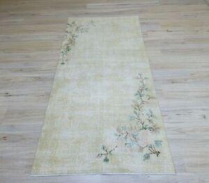 Oushak Beige Bohemian Runner Rug Floral Design Handmade Vintage Carpet 4x7 ft