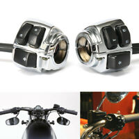 """2Pcs Motorcycle 1""""Handlebar Control Switch Horn Turn Signal Headlight For Harley"""