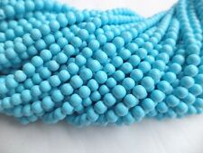 Free shipping BEAUTIFUL TURQUOISE SMOOTH GEMSTONE BEADS 3 MM 13 INCH