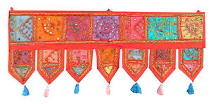 Home Decor Mirror Toran Ethnic Window Valance Vintage Embroidered Patchwork Door