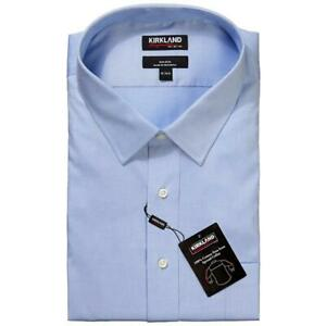 "KIRKLAND SIGNATURE Custom Fit L/S Formal Shirt, Blue Size 15""/32/33  B11"