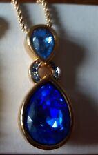 collana swarovski originale doppio  pendente a goccia blu oceano collana oro