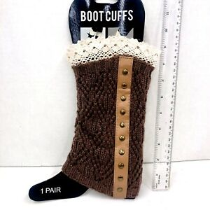 Steampunk Brown Boot Socks Cuffs Knee High Knitted Lace Trim Long Leg Warmers
