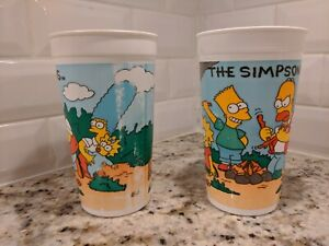 2 The Simpsons Plastic Collector's Cups Burger King