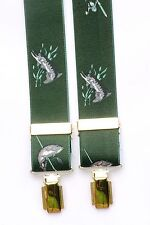 Pike y caña de pescar verde y oro Pantalones Tirantes Pesca en Caja De Regalo