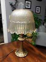 Honey Amber Electric Hurricane Brass Table LAMP