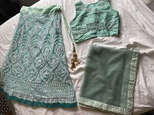 Green Lehenga Wedding Party Outfit Suit Skirt & Top Saree Women's Size 12