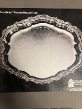 "Oneida Webster Wilcox Countess Round Footed 14.25"" Silverplate Tray Platter"