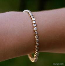 Diamond Tennis Bracelet 4ct Bezel 14kt Yellow Gold USA Made