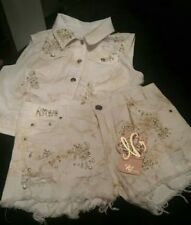 2 PIECE BLING AND PEARL,WITH GOLD GLITTER SHORTS SET