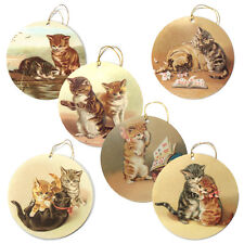 150 Victorian Cat Gift Tags, Die-cut & Strung with Metallic Gold Cord ET0016