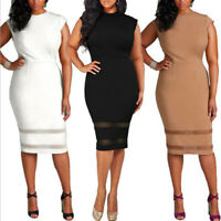 Summer Womens Bodycon Pencil Cocktail Evening Ladies Casual Long Dress Plus Size