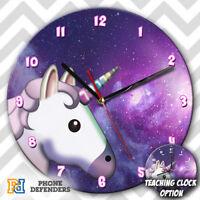 UNICORN GALAXY CUTE HORSE Wall Clock Teaching Learn Gift Bedroom Kids RAINBOW