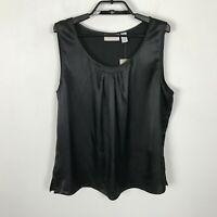 Chico's Silky Splendor Mia Sleeveless Tank Top Size 2 Womens Black Polyester