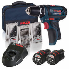 Bosch Batterie-PERCUSSION SET gsr12v-15 2x 1,5 Ah Batteries + Chargeur dans le Lot Dans Sac