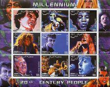 Somalia 2000 MNH Madonna Jimi Hendrix John Lennon Sinatra Beatles 9v M/S Stamps