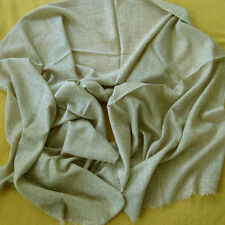 CASHMERE SHAWL HANDWOVEN FAWN PALE BROWN NEPAL LIGHTWEIGHT