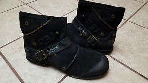 OTTO ZONE Replay style Black suede Leather Ankle moto Boots Size 12