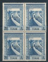 PORTUGAL TIMOR 1947  BLOCK OF 4 WITH LIBERTACAO OVERPRINT SCOTT 245J CAT $310