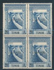 PORTUGAL TIMOR 1947  BLOCK OF 4 WITH LIBERTACAO OVERPRINT SCOTT 245J CAT $310