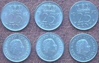 3 MÜNZEN - 3 x 25 CENT.  NIEDERLANDE NEDERLAND (1950, 1960 & 1970)