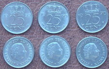 3 monedas - 3 x 25 céntimos. países Bajos Nederland (1950, 1960 & 1970)