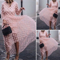 Women Long Sleeve See Through Party Cocktail Dresses Ladies Long Dress Plus Size