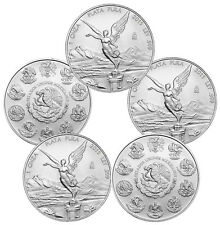 2015 1 oz Silver Mexican Libertad Coins - 5 oz Total .999 fine (BU, Lot of 5)