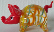 BRAND NEW HAND BLOWN  GLASS RED PIG ORNAMENT in BOX
