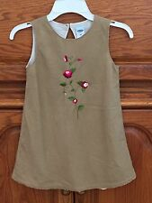 Old Navy Girls Size 4T Tan Corduroy Jumper Dress Embroidered Flowers, Lined, NWT