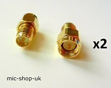 SMA Male Plug to RP-SMA Female Plug WiFi Antenna Extender Adapter Gold Plated x2