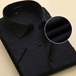 Mens Short Sleeves Shirts Business Formal Business Work Button Multicolor Shirts