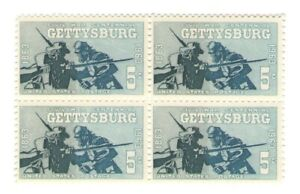 Civil War Centennial Battle Gettysburg 58 Year Old Mint Vintage Stamp Block 1963