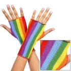 Punk Rave Rainbow Fishnet Fingerless Gloves Disco Roller Rink Halloween Clubwear