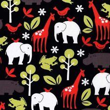 Fat Quarter Zoology Black Animals Cotton Quilting Fabric- Michael Miller