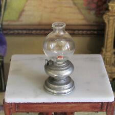 Dollhouse PEWTER GLASS LANTERN Vintage Miniature Light Lamp Lighting Metal