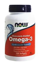 NOW Foods Omega-3 Molecularly Distilled Fish Oil, 100 Softgels