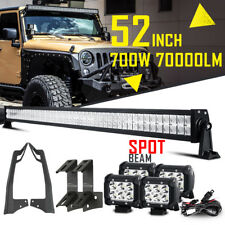 "For Jeep Wrangler JK 52INCH 700W CREE LED Work Light Bar +4x 4"" +Mount Bracket"