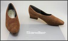 SANDLER WOMEN'S VINTAGE BROWN SUEDE LOW HEEL LOAFERS SHOES SIZE 6 B
