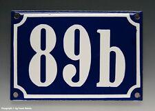 Emaux, E-Mail-numéro de maison 89b en bleu/blanc pour 1960