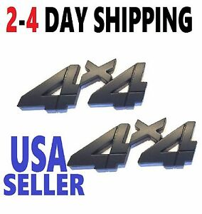 x2 Black 4 X 4 Smoked EMBLEM 4X4 truck LOGO BADGE Rear Lift Gate FITS ANY CAR