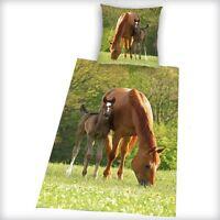 MARRON CHEVAL & poulain Housse de couette Neuf literie 100% coton poney