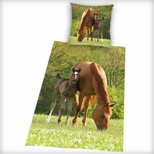 BROWN HORSE & FOAL DUVET COVER NEW BEDDING 100% COTTON PONY