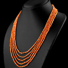 TOP 5 LINE 131.00 CTS NATURAL RICH ORANGE CARNELIAN ROUND FACETED BEADS NECKLACE