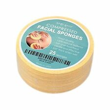 Facial Sponges Natural Compressed Cellulose Soft Disposable & Absorbent 25 Count