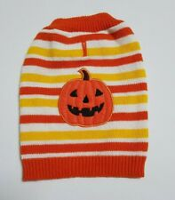 Halloween Dog Costume Pumpkin Stripe Knitted Sweater Fancy Dress Dog Coat Outfit