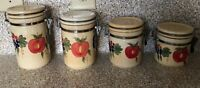 Vintage Ceramic 4 Piece Canister Set w/Sealed Clamp Lids